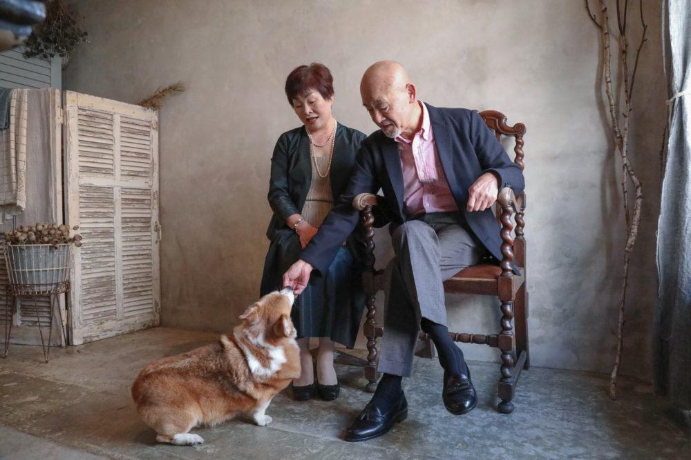 #Blossom 10 愛犬とご夫婦の写真 愛犬と一緒に撮影できるスタジオ