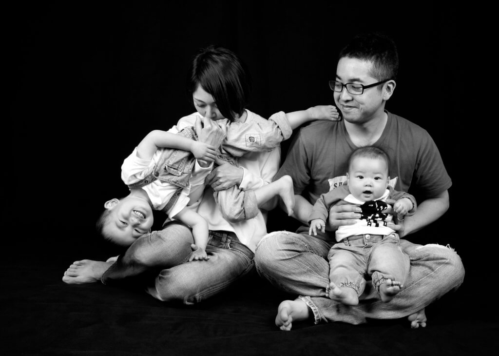 家族写真 モノクロ